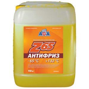 AGA044Z Антифриз, готовый к применению,желтый,-65С ANTIFREEZE AGA-Z65 PREMIX 10л.