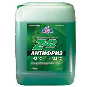 AGA050Z Антифриз, готовый к применению,зеленый,-42С ANTIFREEZE AGA-Z42 10л.